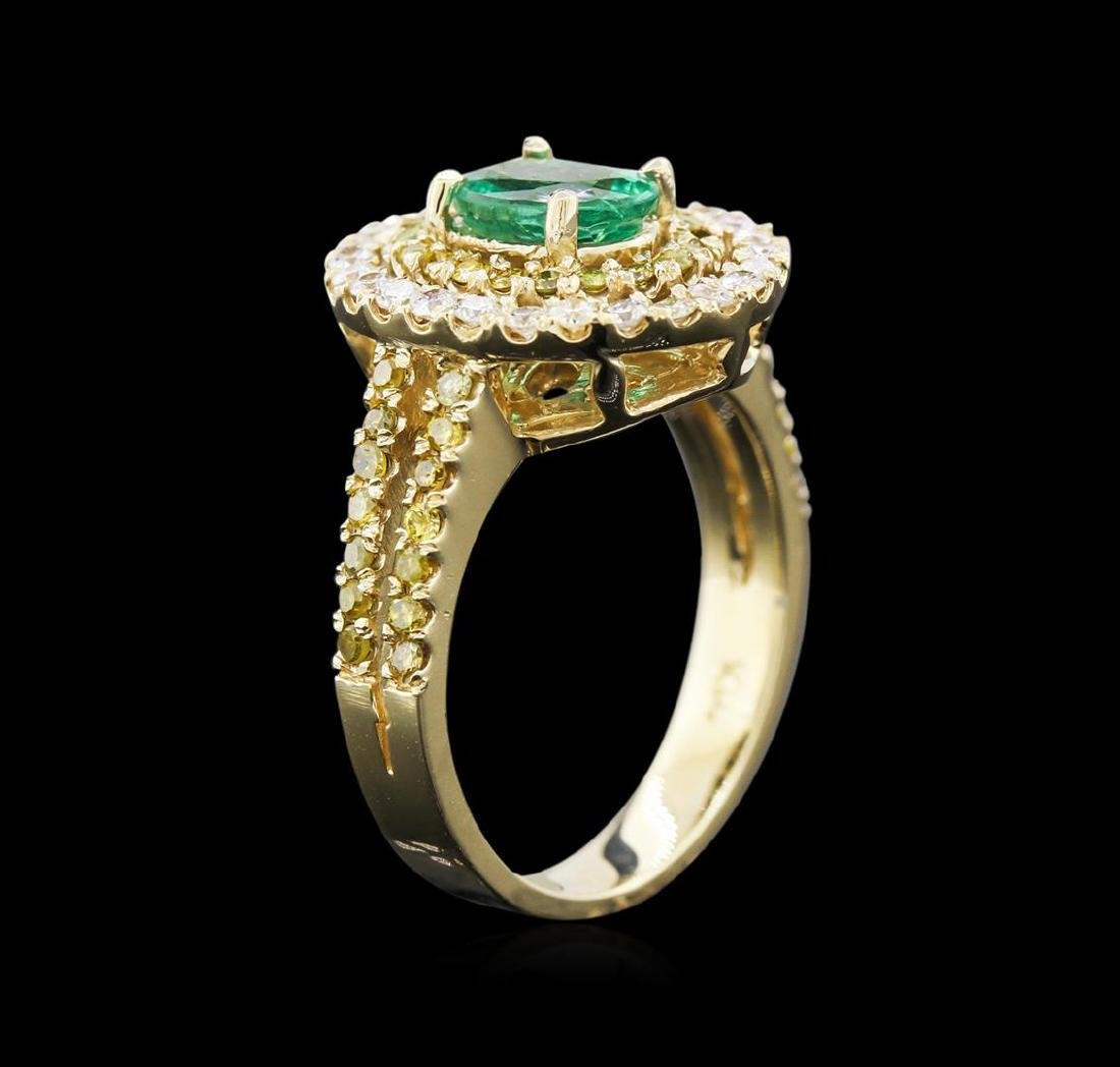 0.88 ctw Emerald and Diamond Ring - 14KT Yellow Gold - 3