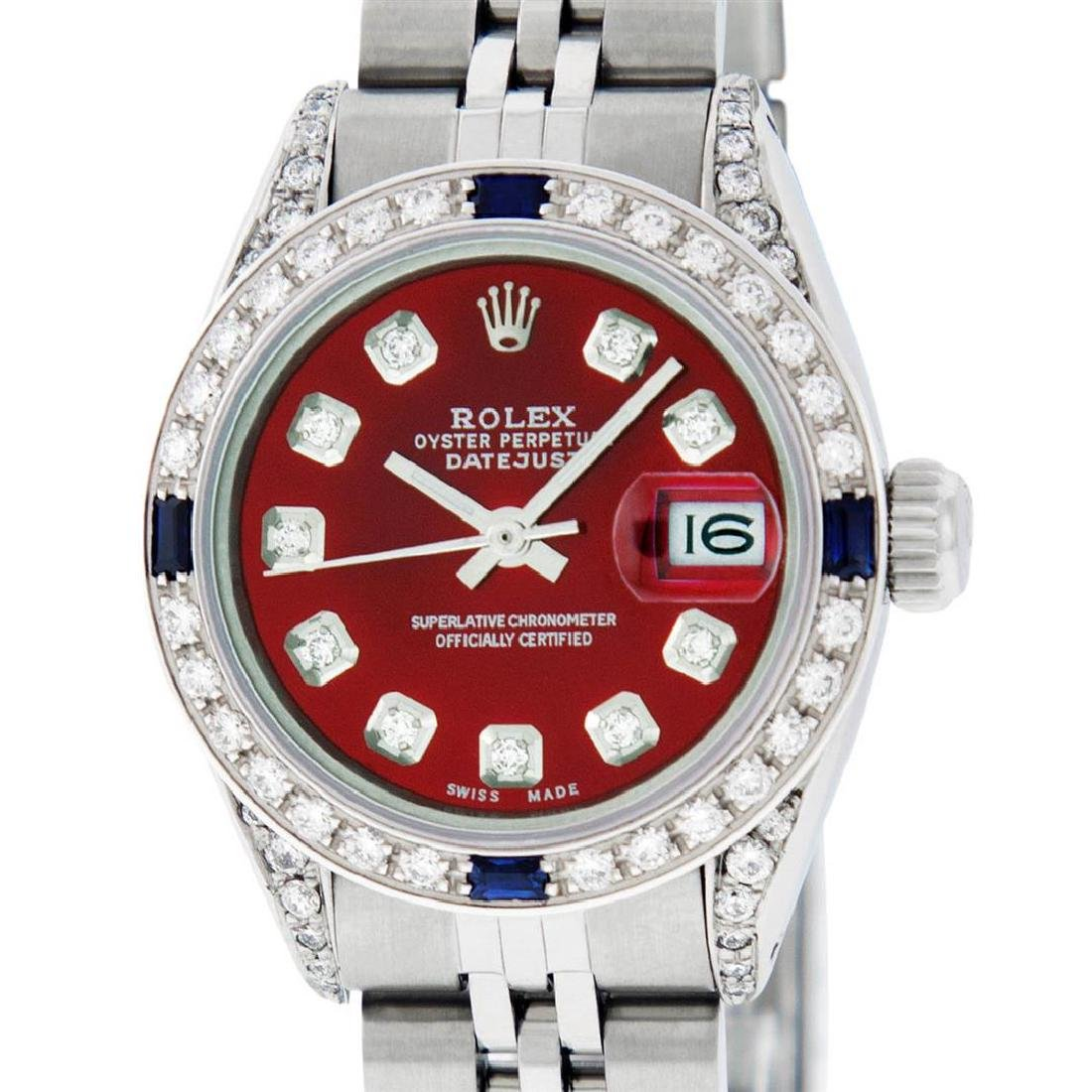 Rolex Ladies Stainless Steel Diamond Lugs & Sapphire