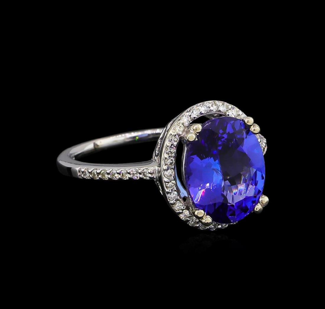 3.35 ctw Tanzanite and Diamond Ring - 14KT White Gold