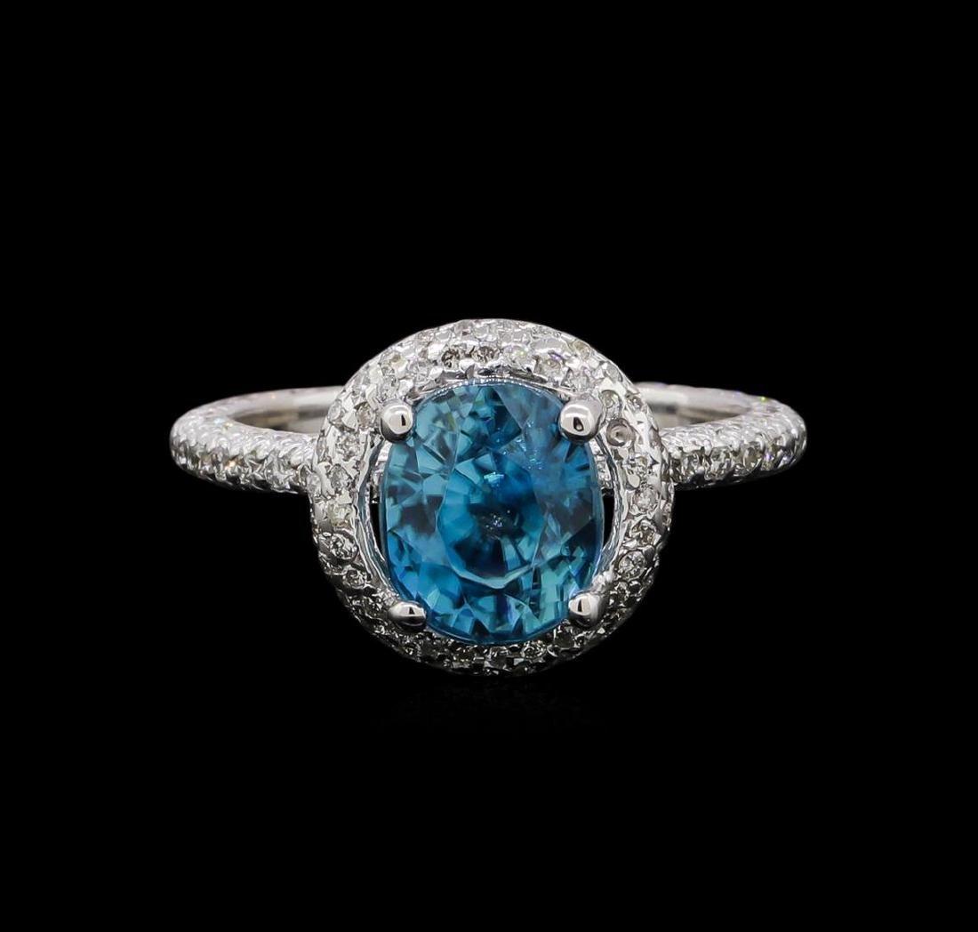 4.23 ctw Blue Zircon and Diamond Ring - 14KT White Gold - 2