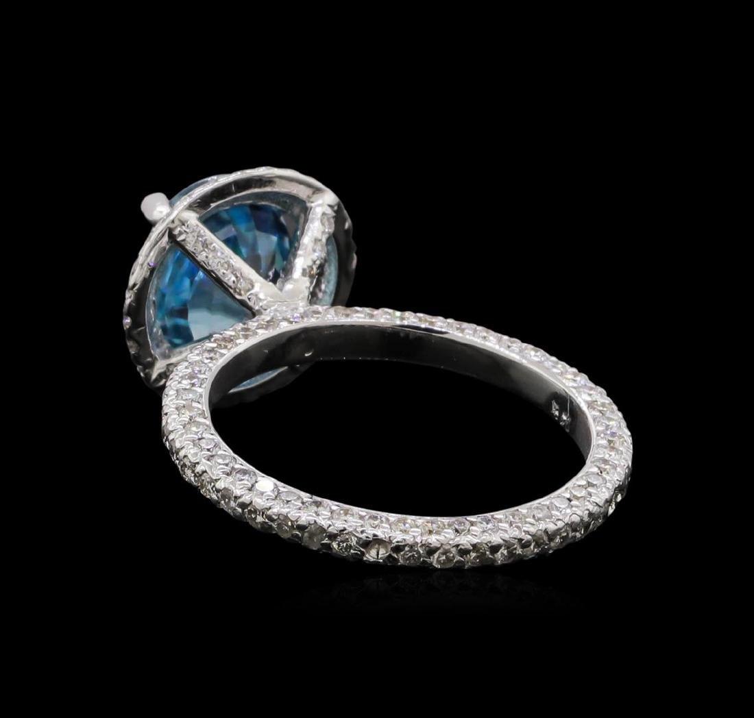 4.23 ctw Blue Zircon and Diamond Ring - 14KT White Gold - 3