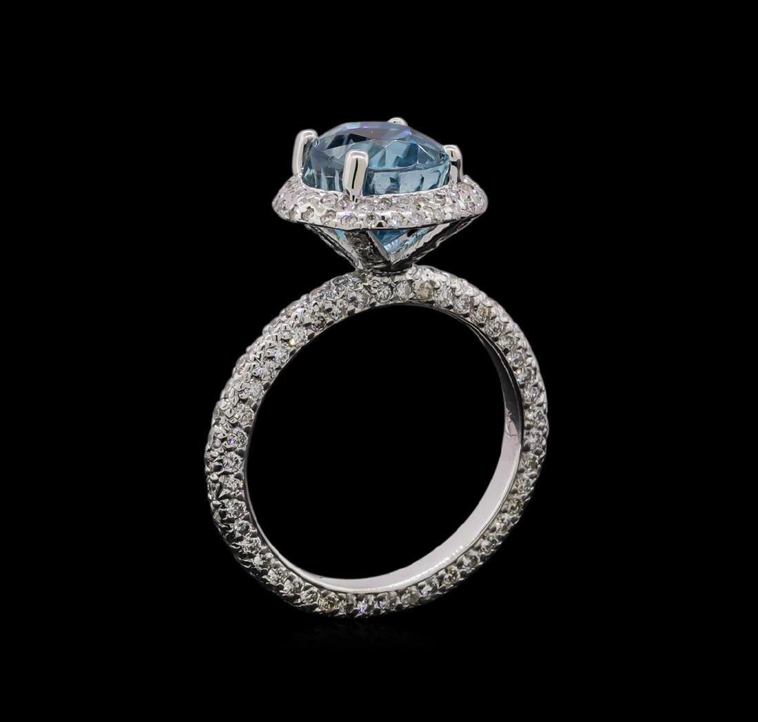 4.23 ctw Blue Zircon and Diamond Ring - 14KT White Gold - 4