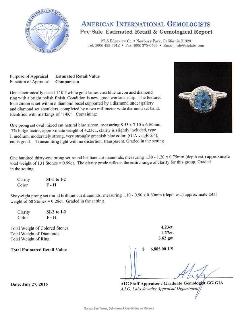 4.23 ctw Blue Zircon and Diamond Ring - 14KT White Gold - 5