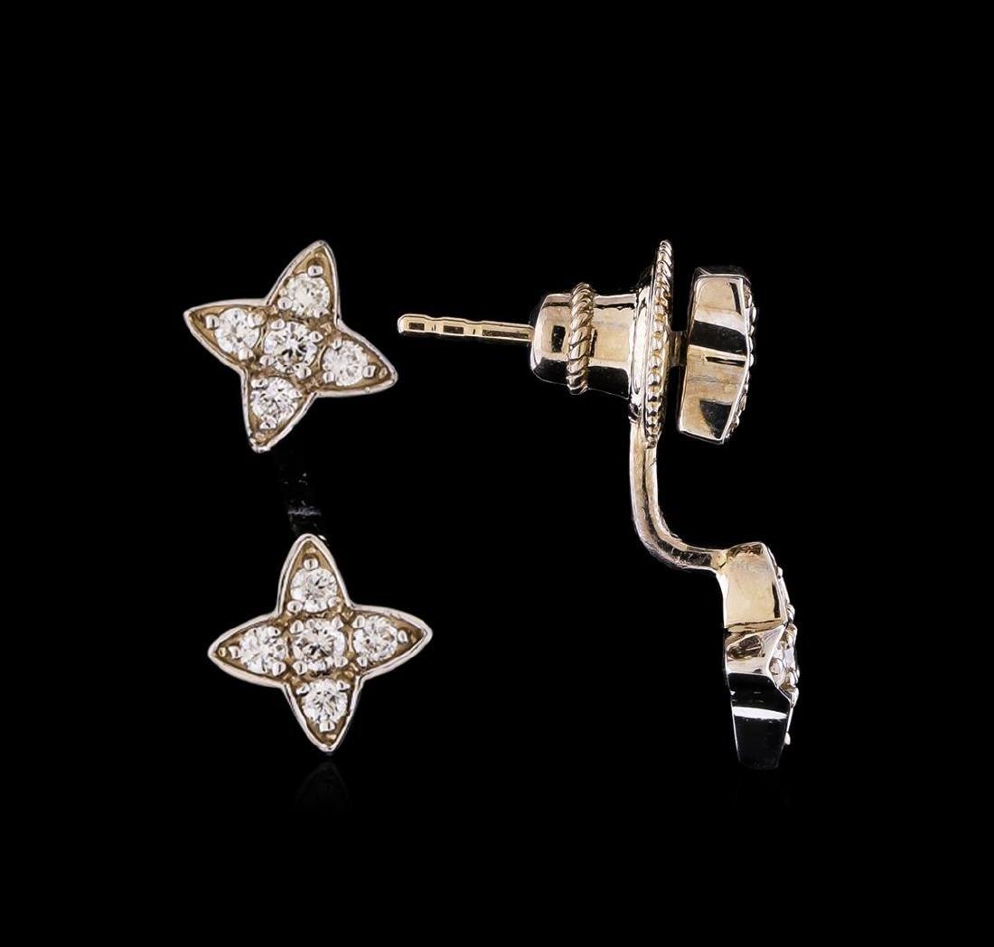 0.55 ctw Diamond Earrings - 14KT White Gold - 2