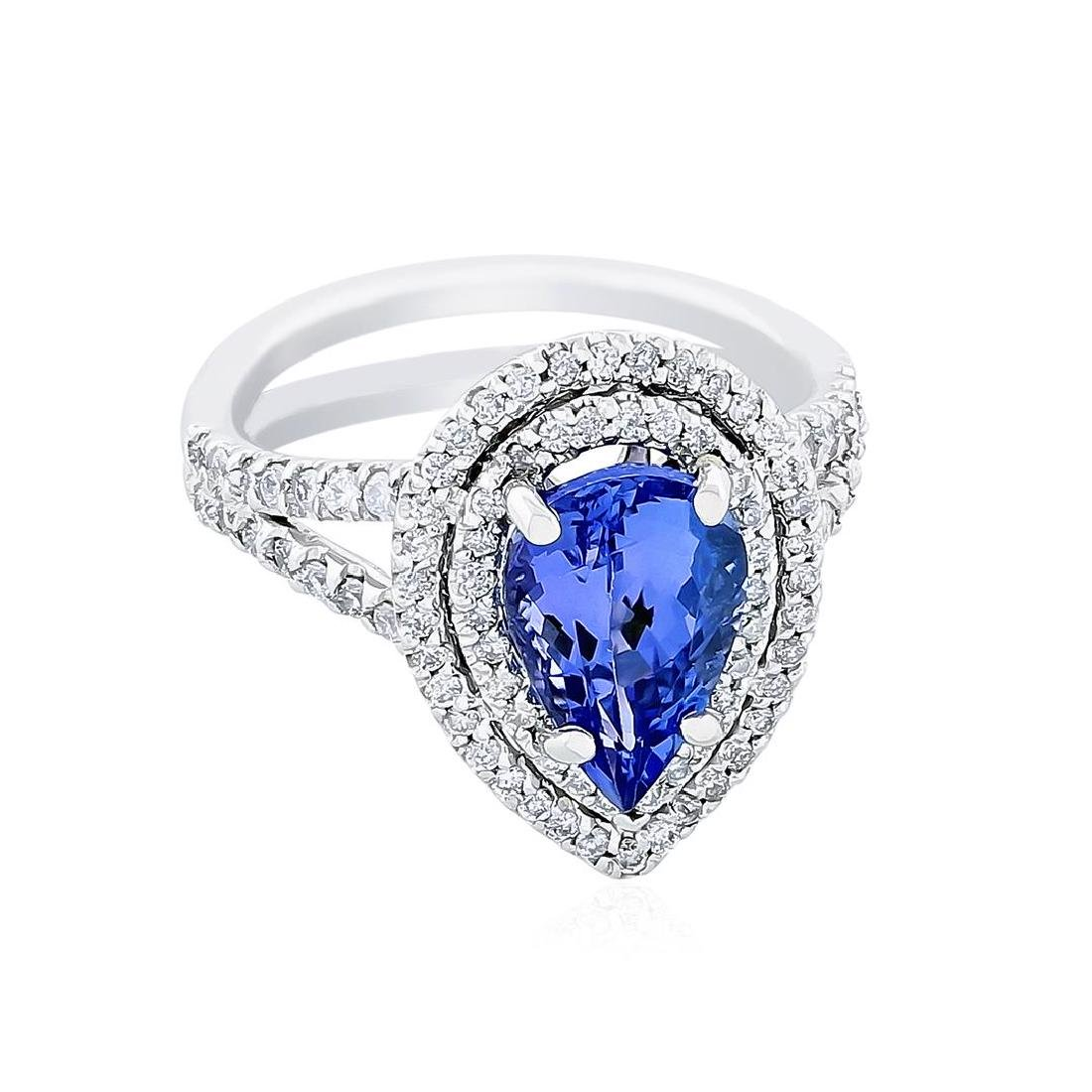 14KT White Gold 2.40 ctw Tanzanite and Diamond Ring - 2