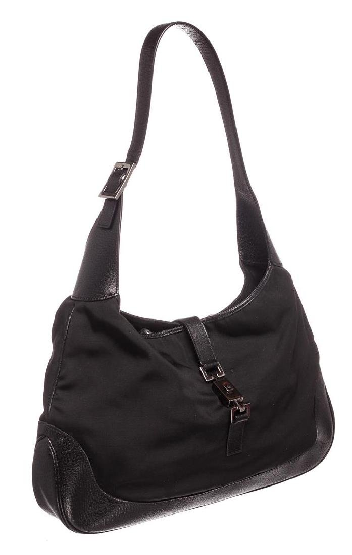 Gucci Black Nylon Leather Jackie Shoulder Bag - 3