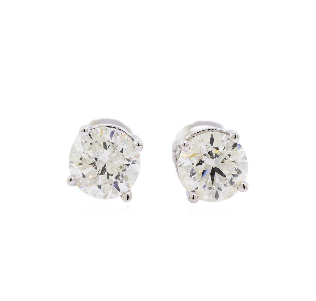 1.50 ctw Diamond Stud Earrings - 14KT White Gold