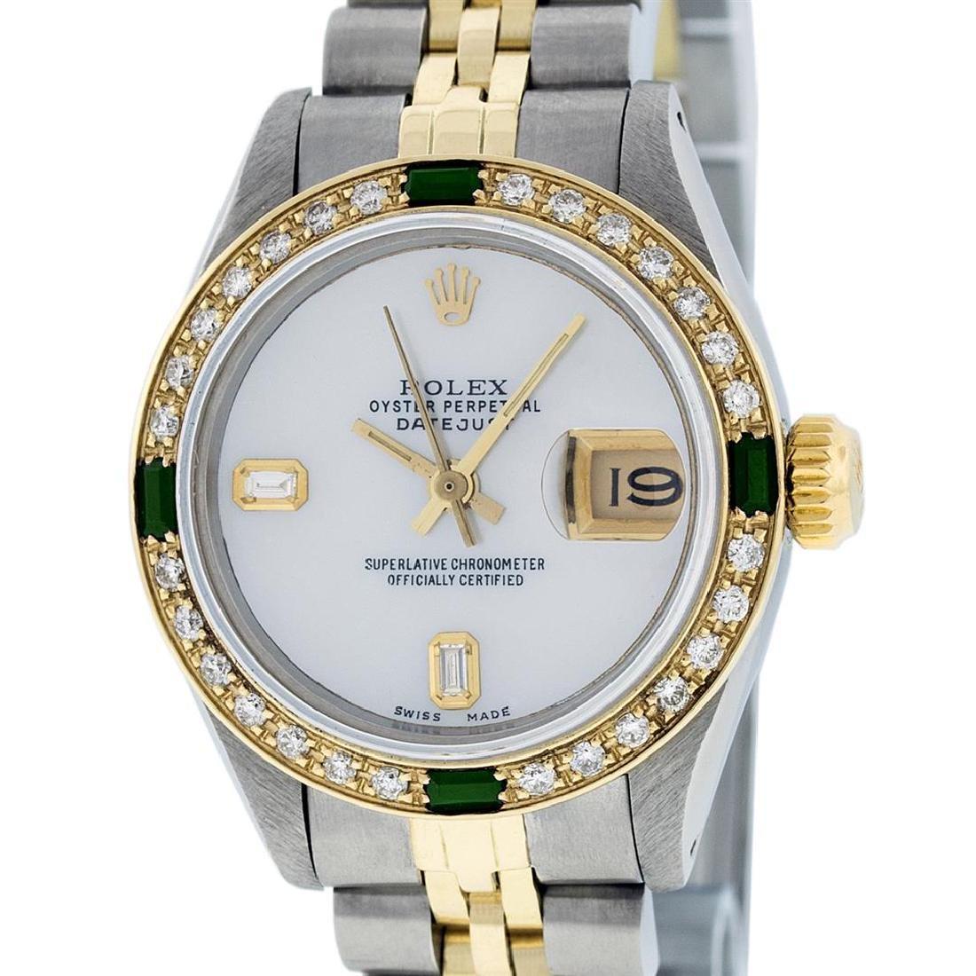 Rolex Ladies 2 Tone 14K MOP & Emerald Diamond Datejust