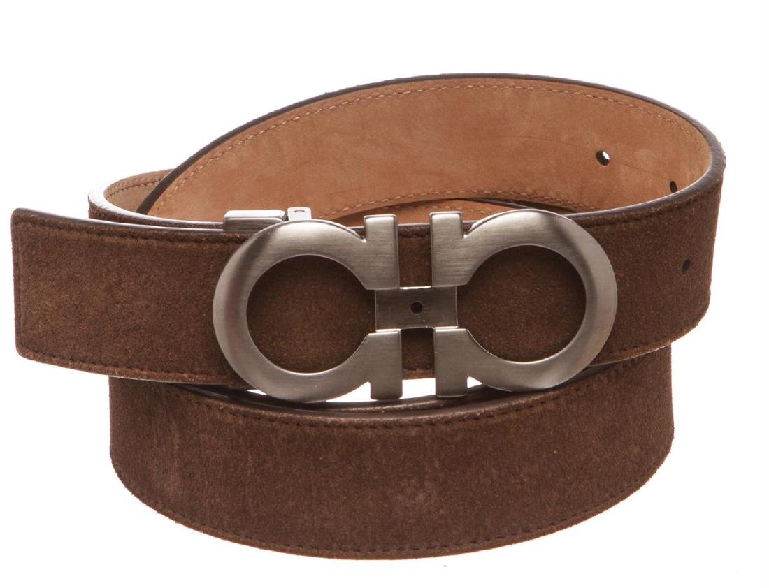 Salvatore Ferragamo Gancini Brown Leather Belt