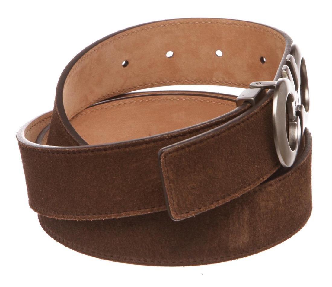 Salvatore Ferragamo Gancini Brown Leather Belt - 2