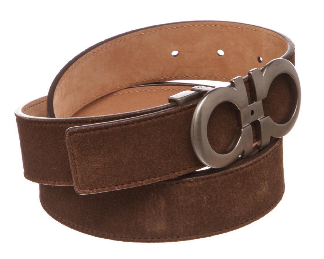 Salvatore Ferragamo Gancini Brown Leather Belt - 3