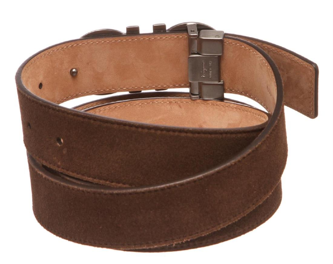 Salvatore Ferragamo Gancini Brown Leather Belt - 5