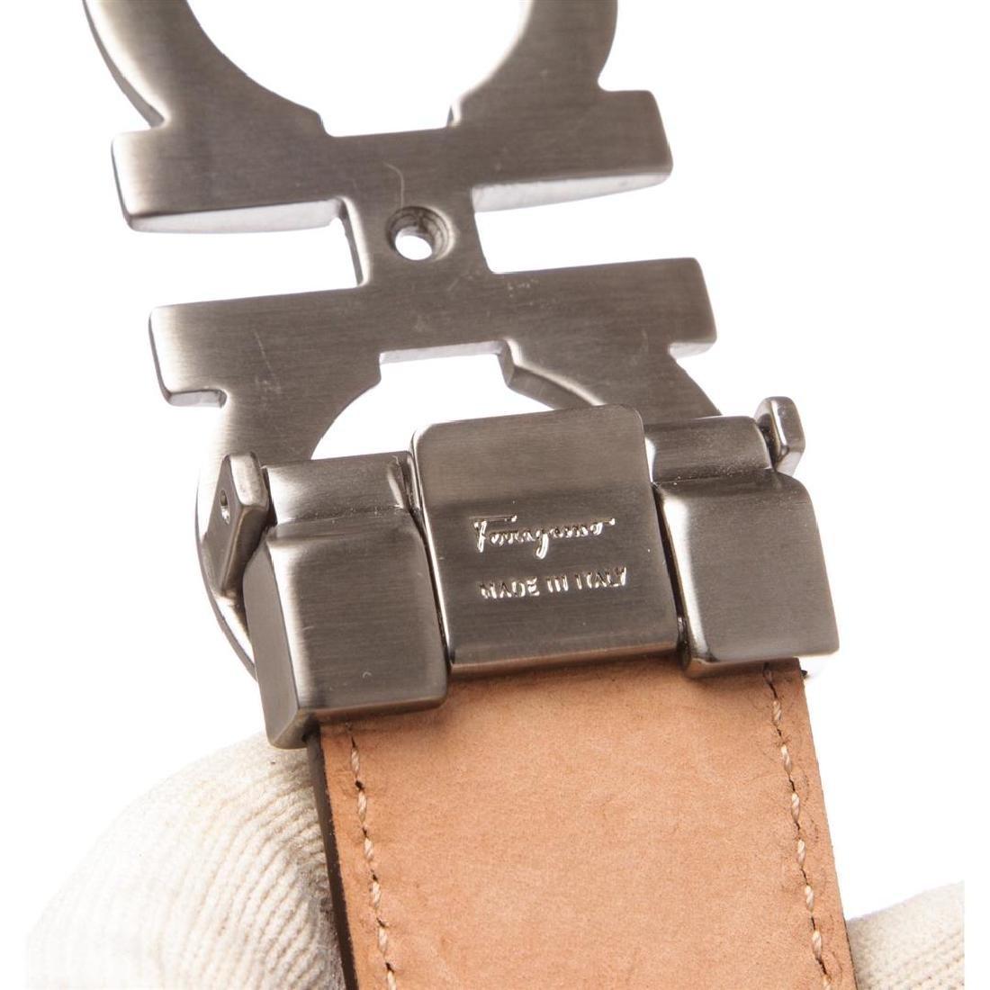 Salvatore Ferragamo Gancini Brown Leather Belt - 6