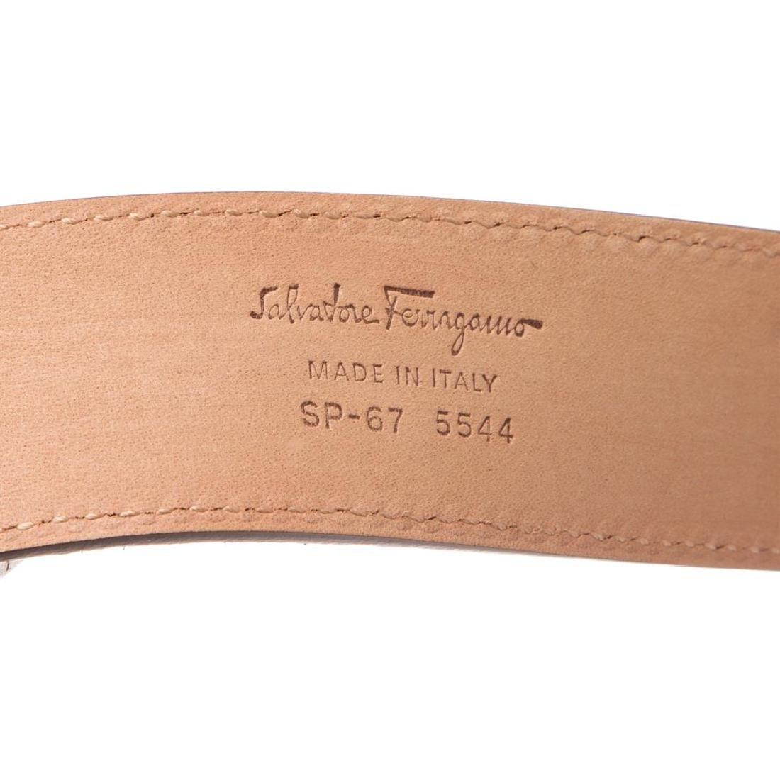 Salvatore Ferragamo Gancini Brown Leather Belt - 7