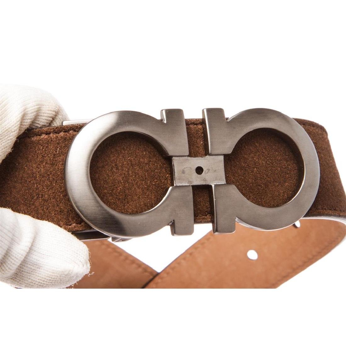 Salvatore Ferragamo Gancini Brown Leather Belt - 8