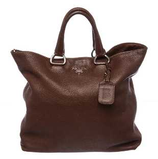 dff299004e54 Prada Brown Pebbled Leather Tote Satchel Bag