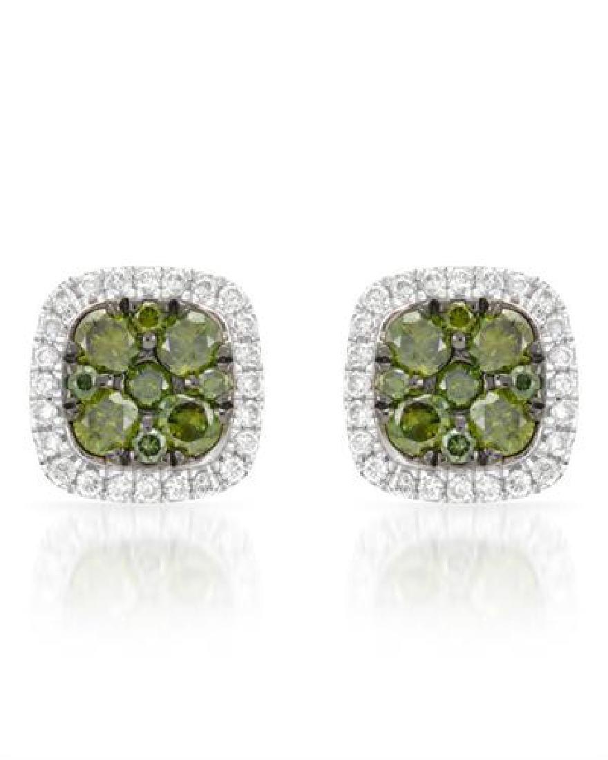 14k White Gold 0.50CTW Diamond and Green Dia Earring,