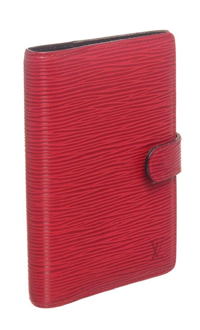 Louis Vuitton Red Epi Leather Small Ring Agenda Holder