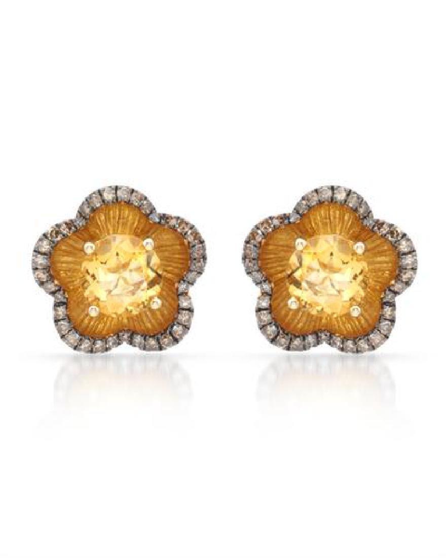 14k Yellow Gold  3.02CTW Citrine and Brown Diamonds