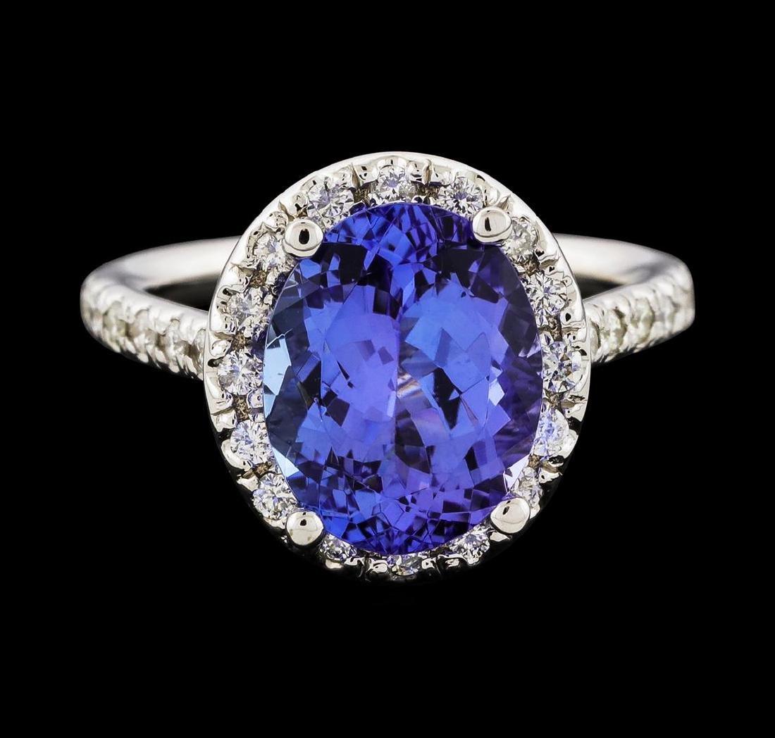 3.80 ctw Tanzanite and Diamond Ring - 14KT White Gold - 2