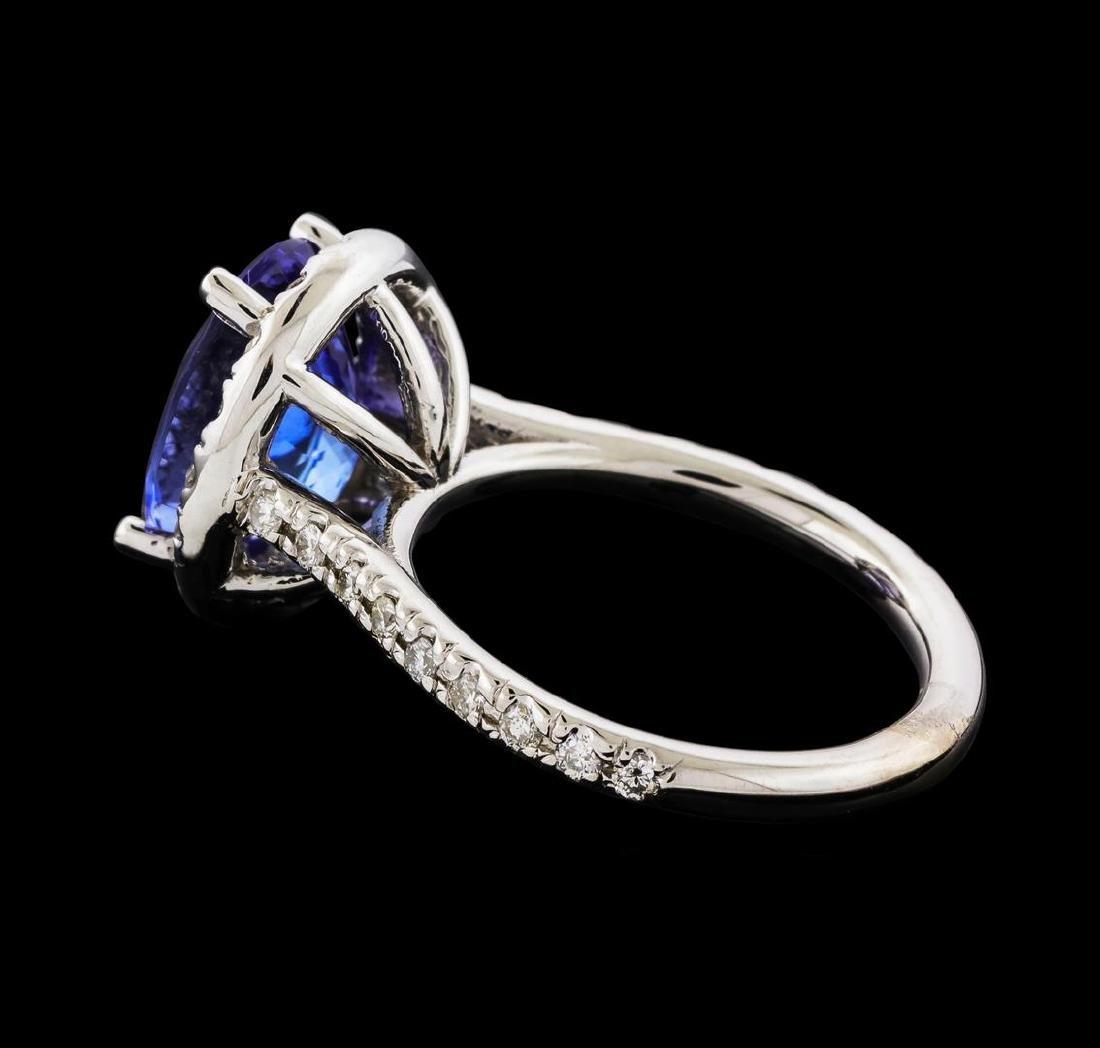 3.80 ctw Tanzanite and Diamond Ring - 14KT White Gold - 3