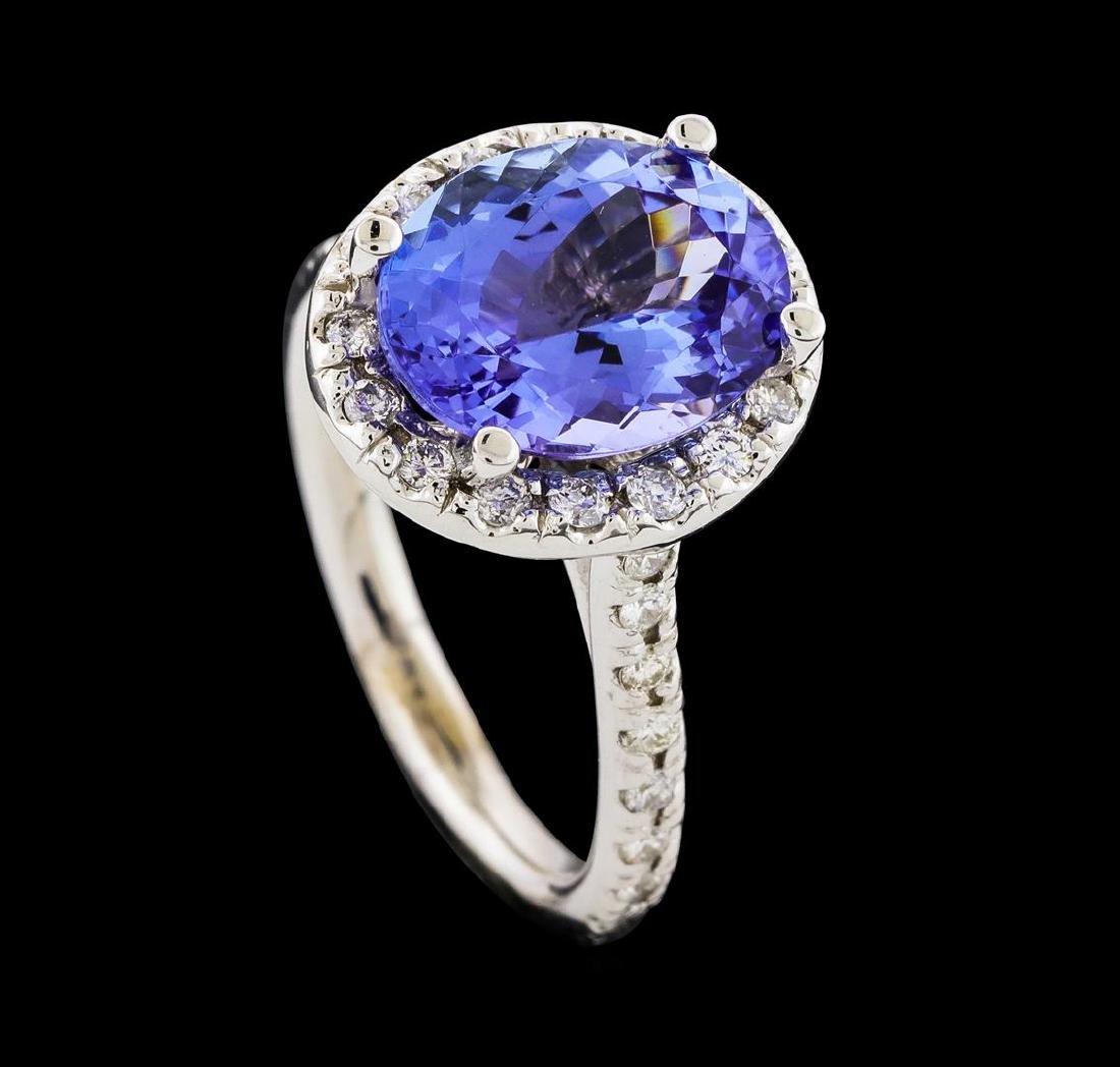 3.80 ctw Tanzanite and Diamond Ring - 14KT White Gold - 4