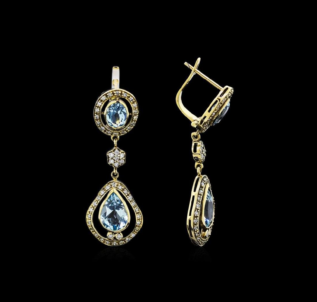 3.65 ctw Blue Topaz and Diamond Earrings - 18KT Yellow - 2