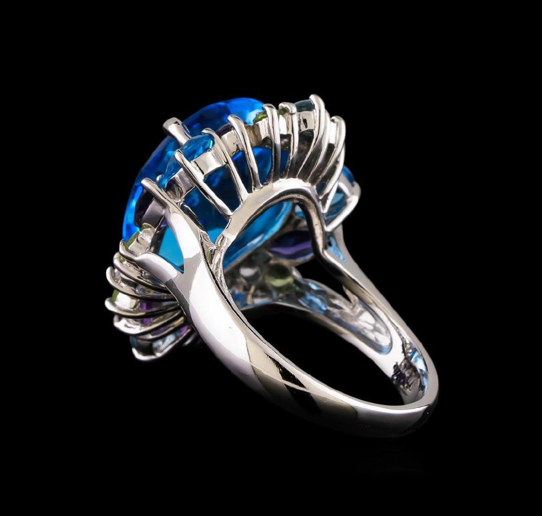 15.36 ctw Multi Gemstone Ring - 14KT White Gold - 3