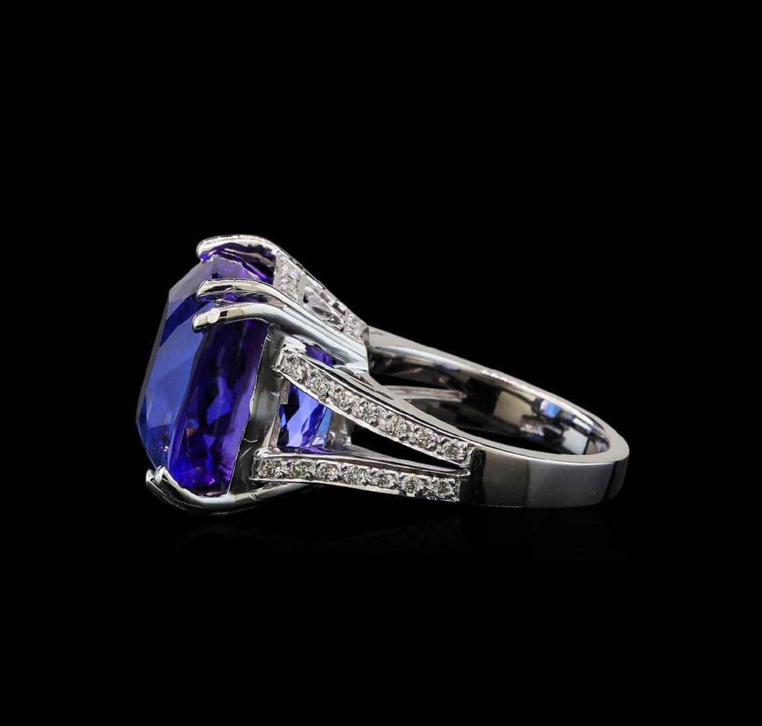 22.50 ctw Tanzanite and Diamond Ring - 14KT White Gold - 3