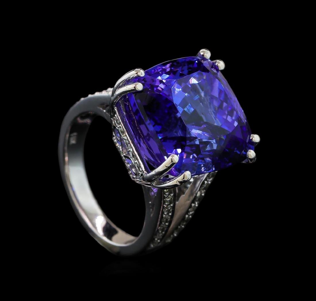 22.50 ctw Tanzanite and Diamond Ring - 14KT White Gold - 4