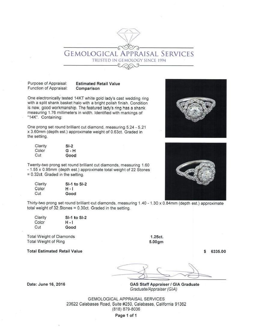 1.25 ctw Diamond Ring - 14KT White Gold - 5