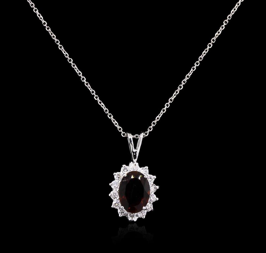 2.53 ctw Tourmaline and Diamond Pendant With Chain -
