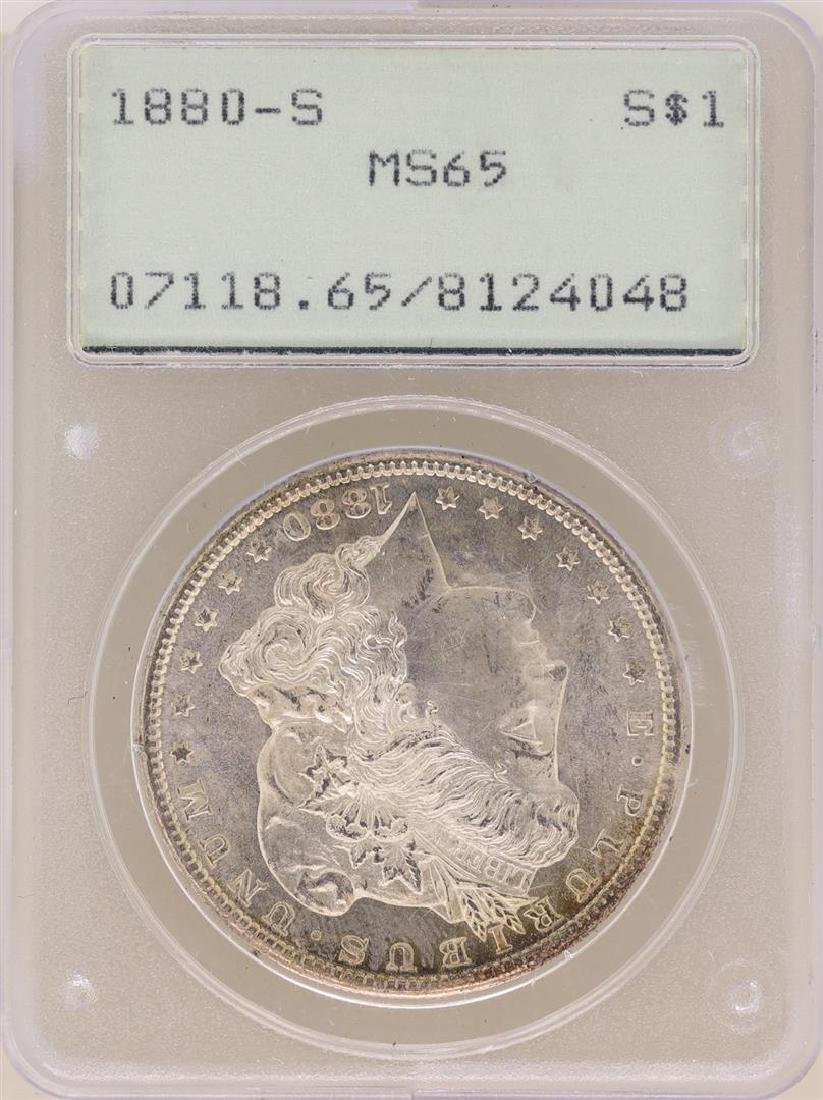 1880-S $1 Morgan Silver Dollar Coin PCGS MS65 Old Green