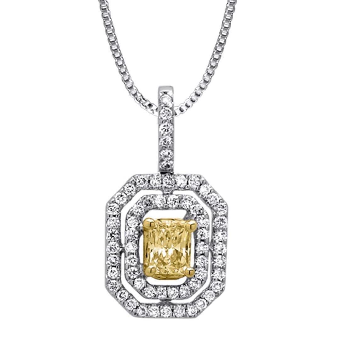 18k Two Tone Gold 0.69CTW Diamond Pendant,