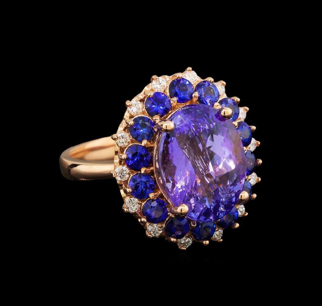 14KT Rose Gold 5.94 ctw Tanzanite, Sapphire and Diamond