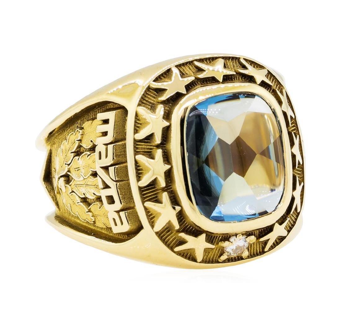 3.00 ctw Blue Topaz and Diamond Mazda Company Ring -