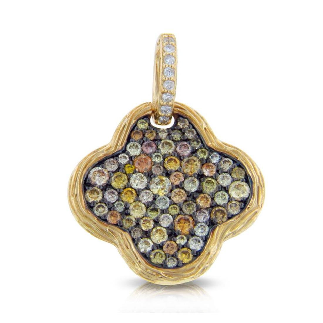 14k Yellow Gold  1.26CTW Diamond and Multicolor Dia