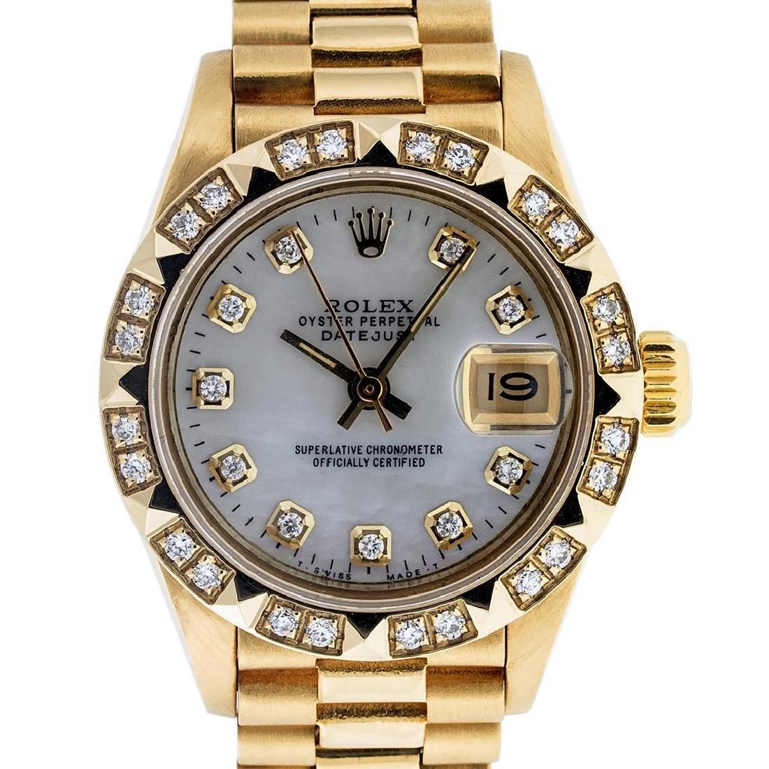 Rolex Ladies 18K Yellow Gold MOP Diamond President