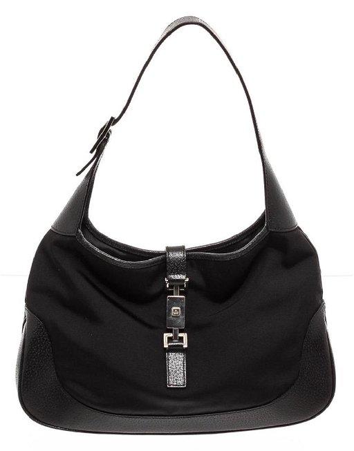 c0c2e2f6b Gucci Black Canvas Leather Trim Jackie Shoulder Bag - Jul 08, 2019 ...