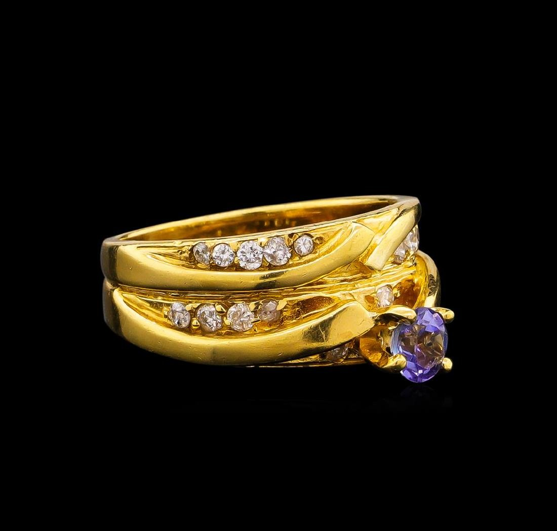 0.45 ctw Tanzanite and Diamond Ring - 18KT Yellow Gold