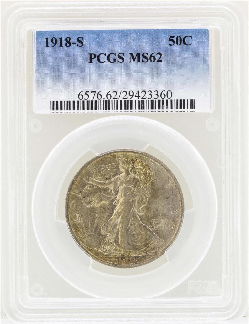 1918-S Walking Liberty Half Dollar Coin PCGS MS62