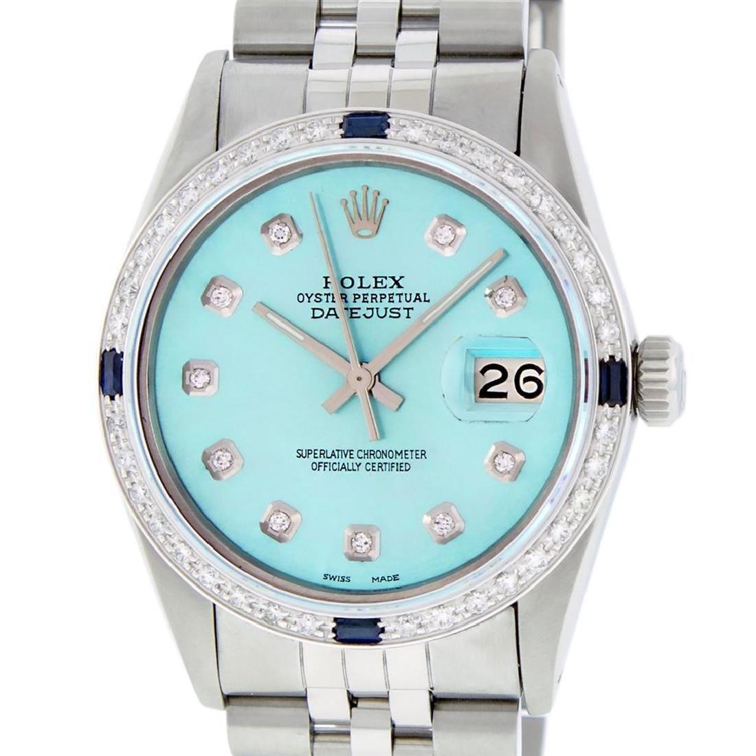 Rolex Mens Stainless Steel Blue Diamond & Sapphire 36MM