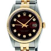 Rolex Mens 2 Tone 14K Red Vignette Diamond 36MM