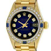 Rolex Ladies 18K Yellow Gold Sapphire And Blue Vignette