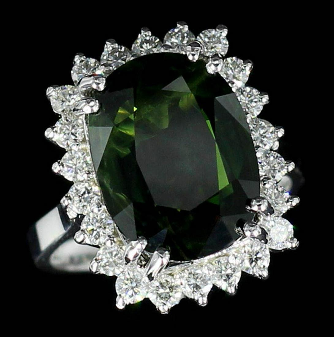 9.75 ctw Green Sapphire and Diamond Ring - 14KT White