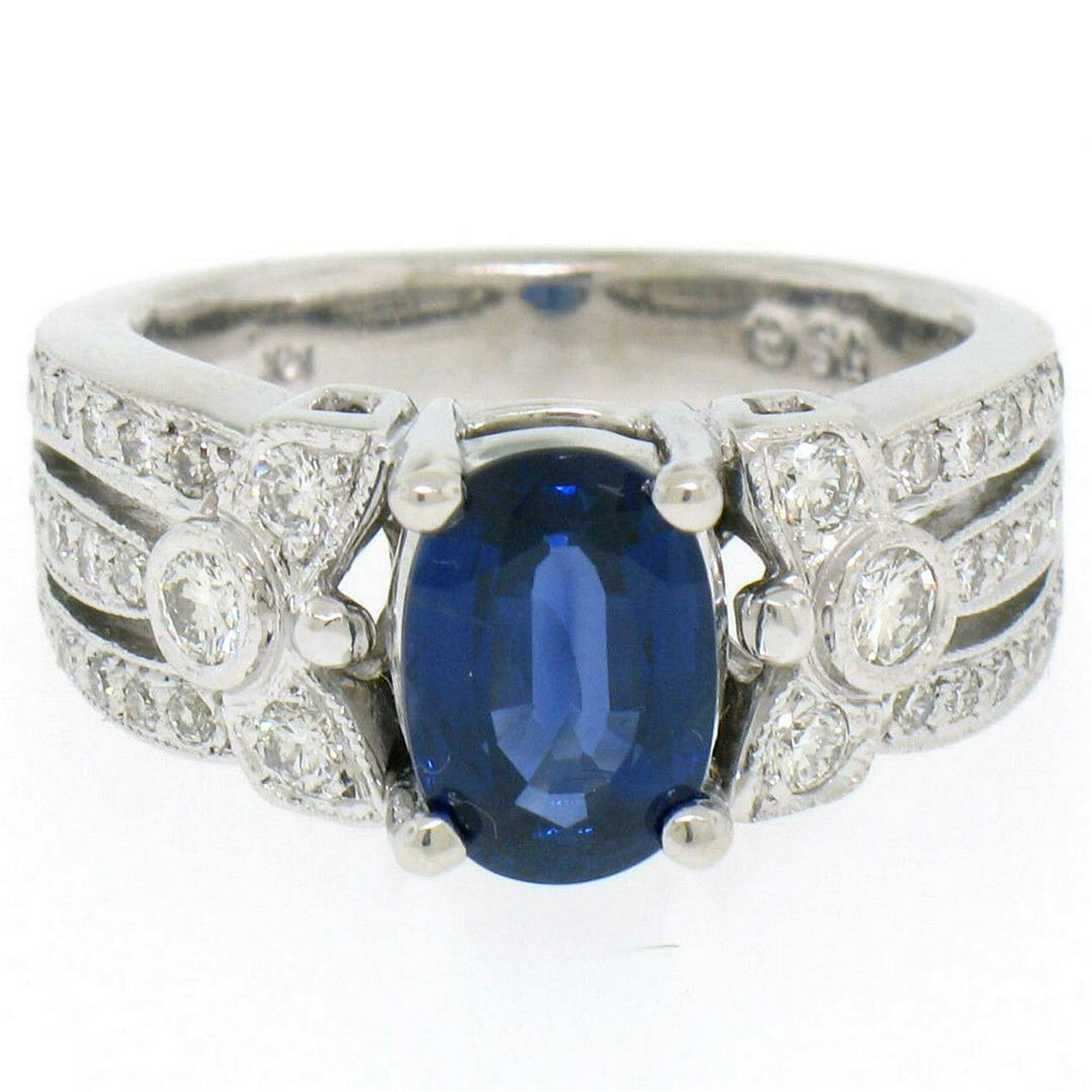 EGL 14k White Gold 2.78 Ctw Royal Blue Sapphire and