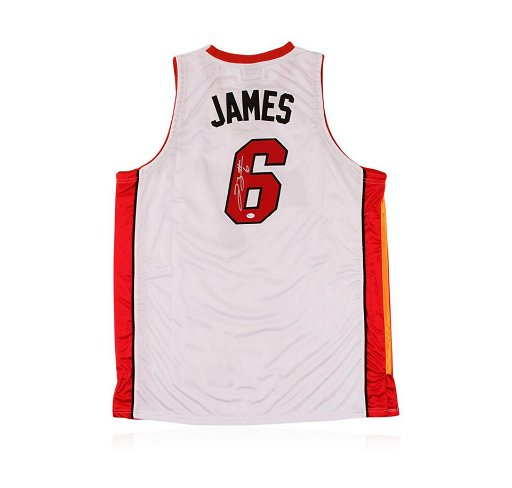 huge discount d77a0 4a674 Miami Heat LeBron James Autographed Jersey