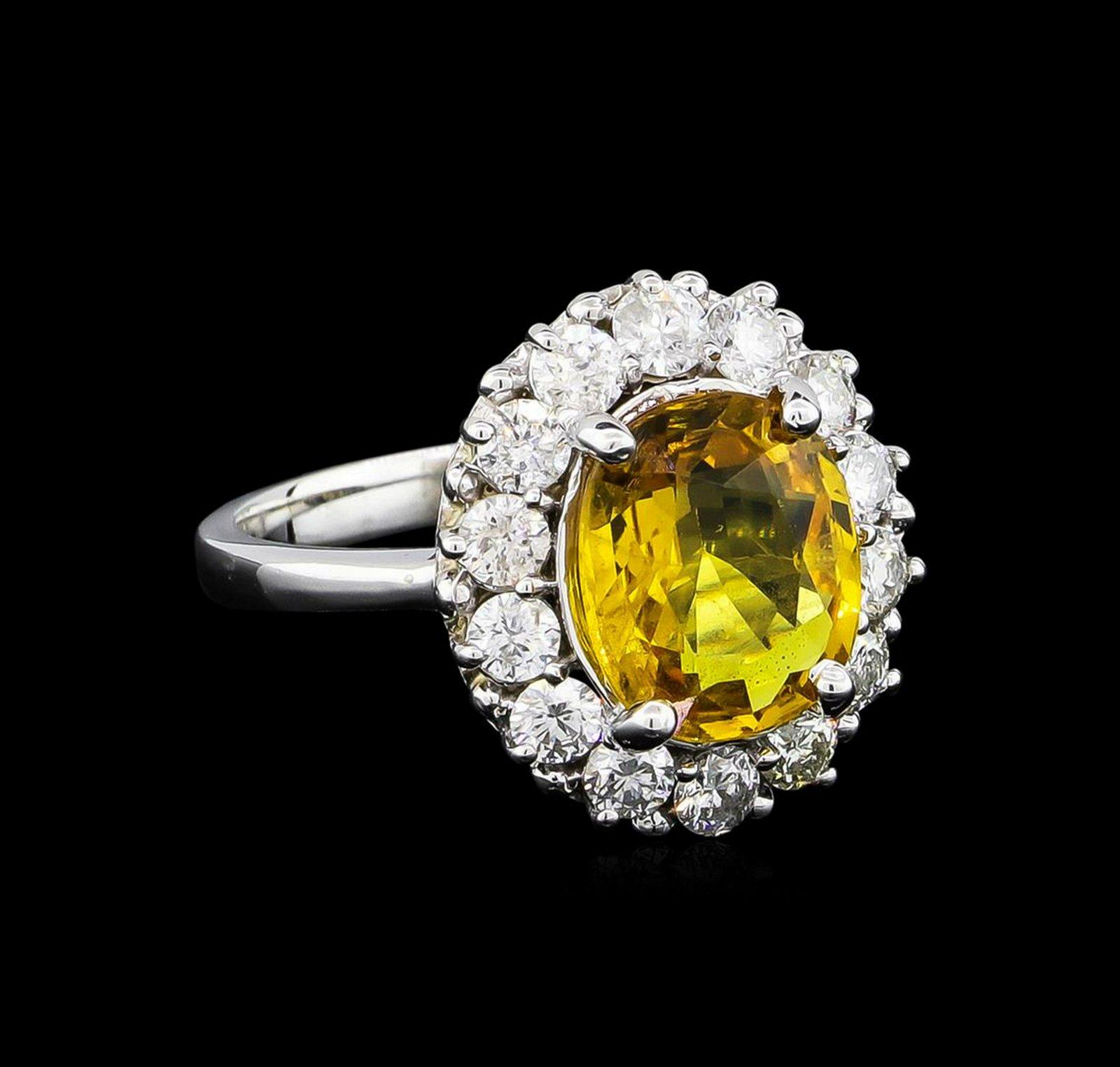 3.40 ctw Yellow Sapphire and Diamond Ring - 14KT White