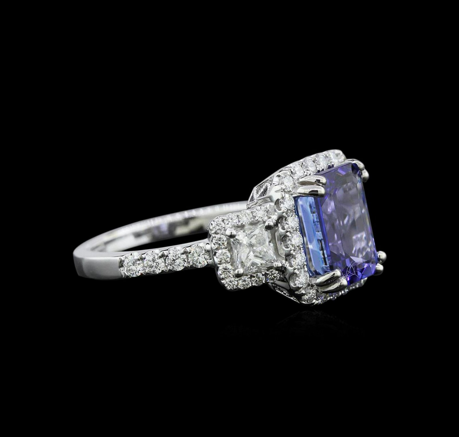 3.35 ctw Tanzanite and Diamond Ring - 18KT White Gold