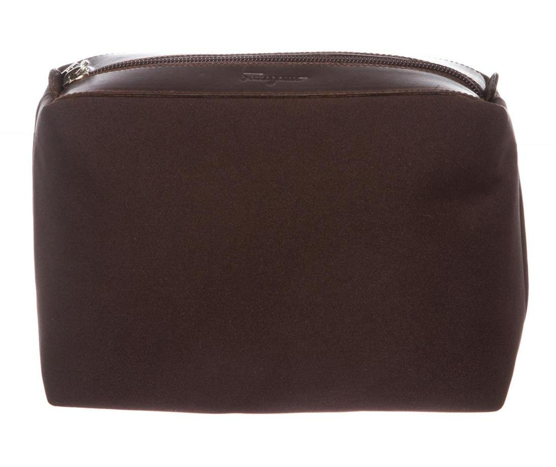 Salvatore Ferragamo Brown Canvas Leather Pouch